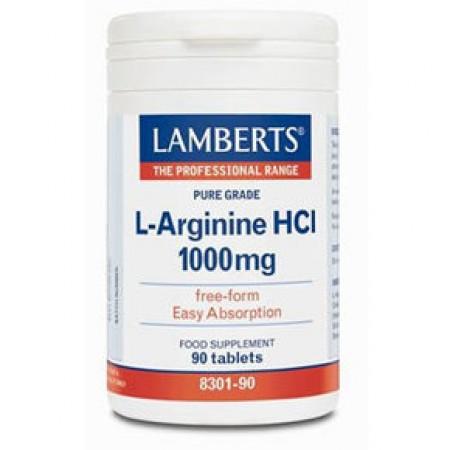 LAMBERTS L-Arginine HCl Αργινίνη 1000mg 90 δισκία