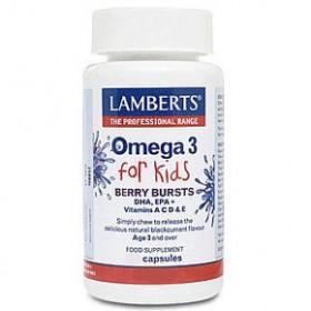 LAMBERTS OMEGA 3 For Kids Συμπλήρωμα διατροφής για παιδιά με γεύση φραγκοστάφυλο 30 capsules