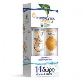 POWER HEALTH Hydrolytes Sports με Στέβια και Γεύση Λεμόνι 20 Αναβράζοντα Δισκία + Δώρο Vitamin C 500mg 20 Αναβράζοντα Δισκία