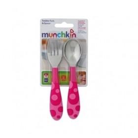 MUNCHKIN Σετ Πιρούνι & Κουτάλι (Χρώμα Ροζ 5019090114042) 12m+