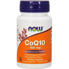 NOW FOODS CoQ10 100mg with Hawthorn Berry 30 veg caps