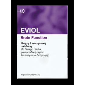EVIOL Brain Function Συμπλήρωμα Διατροφής με Ginkgo Biloba για την Ενίσχυση της Μνήμης 30 Μαλακές Κάψουλες