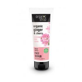 ORGANIC SHOP Face Scrub Ginger Cherry Απαλό Απολεπιστικό Προσώπου για Καθαρισμό 75ml