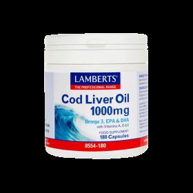 LAMBERTS Cod Liver Oil 1000 mg Ωμέγα 3+ Βιταμίνες Α & D 180 Δισκία