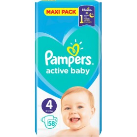 PAMPERS Active Baby Maxi Pack Βρεφικές Πάνες No4 (9-14Kg) 58τμχ