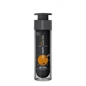 FREZYDERM Ac-Norm Sun Screen Fluid SPF50+ Αντηλιακή Κρέμα Προσώπου με Λεπτόρρευστη Υφή & Ειδική Μαύρη Χρώση για Ακνεικά Δέρματα 50ml