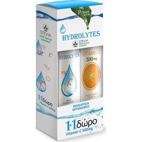 POWER HEALTH Hydrolytes με Στέβια και Γεύση Λεμόνι 20 Αναβράζοντα Δισκία + Δώρο Vitamin C 500mg 20 Αναβράζοντα Δισκία