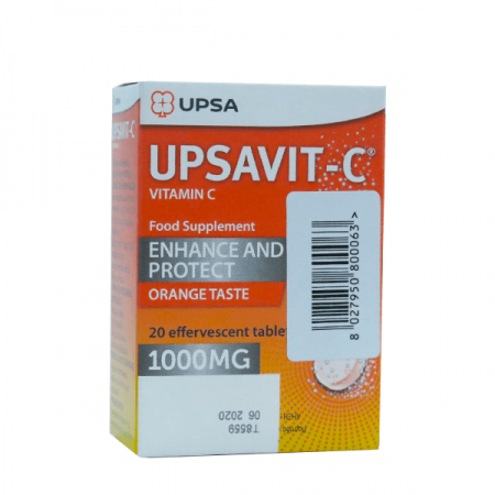 UPSA Upsavit-C 1000mg Συμπλήρωμα Διατροφής με Βιταμίνη C για Ενίσχυση & Προστασία με Γεύση Πορτοκάλι 20 Αναβράζοντα Δισκία