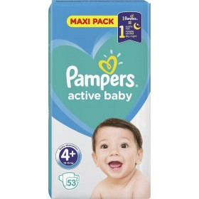 PAMPERS Active Baby Maxi Pack Βρεφικές Πάνες No4+ (10-15Kg) 53τμχ