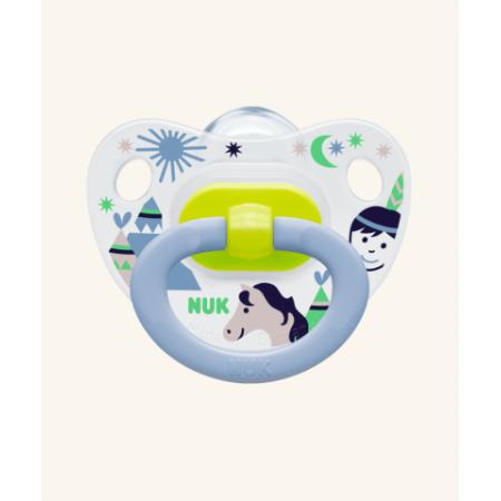 NUK Classic Happy Days Πιπίλα Σιλικόνης με Σχέδια για Αγόρι 6-18m