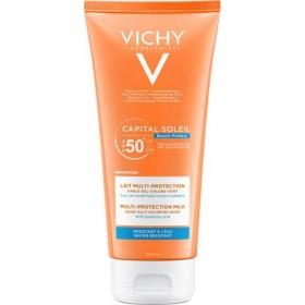 VICHY Capital Soleil Beach Protect Αντηλιακό Γαλάκτωμα Πολλαπλής Προστασίας Προσώπου & Σώματος με Υαλουρονικό Οξύ για Προστασία απο την Αφυδάτωση που Προκαλείται απο το Αλάτι & το Χλώριο SPF50+ 200ml
