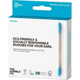 THE HUMBLE CO. Bamboo Cotton Swabs Μπατονέτες απο Μπαμπού Χρώμα Μπλέ 100τμχ