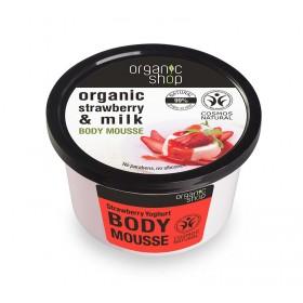 ORGANIC SHOP Body Mousse Strawberry Yoghurt Μούς Σώματος Βιολογική Φράουλα & Γάλα 250ml