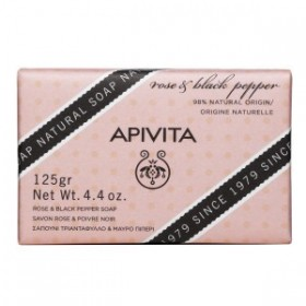 APIVITA Natural Soap Σαπούνι με Σαπούνι με Τριαντάφυλλο & Μαύρο Πιπέρι 125gr