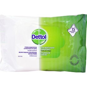 DETTOL Υγρά Αντιβακτηριδιακά Μαντηλάκια Καθαρισμού 15τμχ