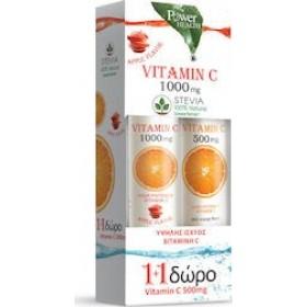 POWER HEALTH Vitamin C 1000mg με Στέβια & Γεύση Μήλο 20+4 Eff Caps & Δωρο Vitamin C 500mg με Γεύση Πορτοκάλι 20 Eff Caps