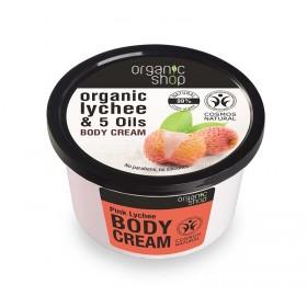 ORGANIC SHOP Body Cream Pink Lychee Κρέμα Σώματος Βιολογικό Λίτσι & 5 Έλαια 250ml