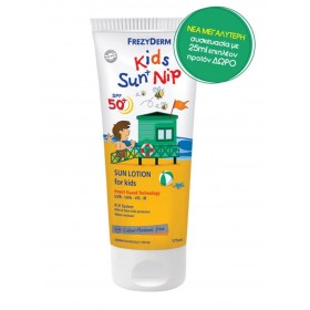 FREZYDERM Kids Sun + Nip Αντηλιακό Γαλάκτωμα Προσώπου και Σώματος με Εντομοαπωθητική Δράση SPF 50+ 175ml