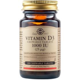 SOLGAR Vitamin D3 1000IU 25μg Chewable Tablets Συμπλήρωμα Διατροφής για τη Καλή Υγεία Οστών και Δοντιών με Γεύση Φράουλα 100 Μασώμενα Δισκία