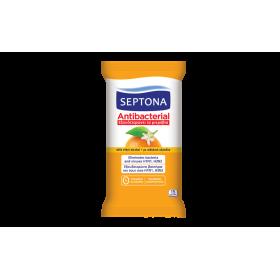 SEPTONA Antibacterial Αντιβακτηριδιακά Μαντηλάκια Χεριών με Αιθυλική Αλκοόλη και Άρωμα Ανθός Πορτοκαλιού 15τμχ