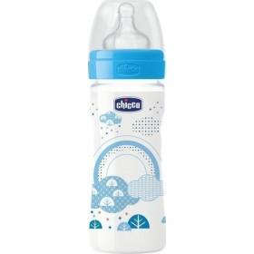 CHICCO Well Being Πλαστικό Μπιμπερό με Θηλή Σιλικόνης Μεσαία Ροή Χρώμα Γαλάζιο 2m+ 250ml