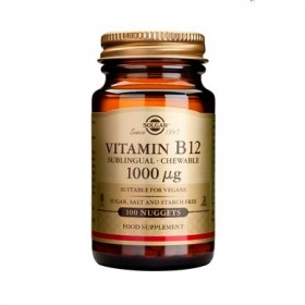 SOLGAR Vitamin B12 1000μg Συμπλήρωμα Διατροφής για τη Καλή Λειτουργία του Νευρικού Συστήματος 100 Μασώμενα Δισκία