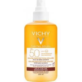 VICHY Capital Soleil Αντηλιακό Νερό για Λαμπερό Μαύρισμα με Βήτα Καροτίνη SPF50 200ml