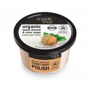 ORGANIC SHOP Body Polish Sweet Almond & Cane Sugar Αφρώδες Scrub Σώματος Γλυκό Αμύγδαλο & Ζάχαρη Ζαχαροκάλαμου 250ml