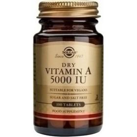 SOLGAR Vitamin A Dry 5000IU 1502μg 100 δισκία