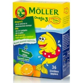 MOLLER'S Omega-3 για Παιδιά Ψαράκια-Ζελέδάκια Πορτοκάλι & Λεμόνι 36 Ζελεδάκια