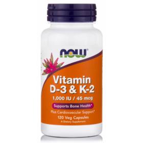 NOW FOODS Vitamin D3 1000IU & K2 45mcg 120 Veg Capsules