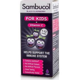 SAMBUCOL Black Elderberry Liquid For Kids + Vitamin C Παιδικό Σιρόπι για την Ενίσχυση του Ανασοποιητικού 120ml