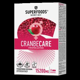 SUPERFOODS Cranbecare Συμπλήρωμα Διατροφής για τη Καλή Λειτουργία του Ουροποιητικού Συστήματος 15200mg 30 Κάψουλες