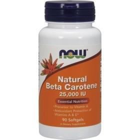 NOW FOODS Natural Beta Carotene 25000 90 Soft Gels