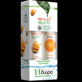 POWER HEALTH Multi+ Multi με Στέβια 20 eff Tabs & Δώρο Vitamin C 500mg 20 eff tabs