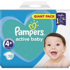 PAMPERS Active Baby Giant Pack Βρεφικές Πάνες No4+ (10-15Kg) 70τμχ