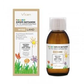 VICAN Wise Land Παιδικό Σιρόπι Βοτάνων για το Ανοσοποιητικό με Ευχάριστη Γεύση Κεράσι Κατάλληλο για Παιδιά από 1 Έτους και Άνω 120ml