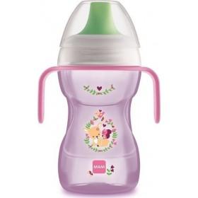 MAM Fun To Drink Cup Ποτηράκι με Σκληρό Στόμιο & Λαβές για Εύκολο Κράτημα Χρώμα Ρόζ 8m+ 270ml