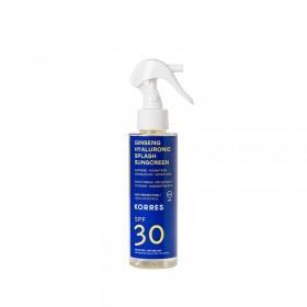 KORRES Ginseng Hyaluronic Splash Sunscreen Διφασικό Αντηλιακό με Τζίνσενγκ και Υαλουρονικό για Πρόσωπο και Σώμα SPF30 150ml