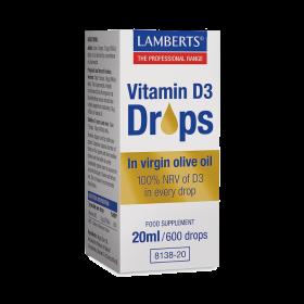 LAMBERTS Vitamin D3 Drops 200IU Συμπλήρωμα Διατροφής με Βιταμίνη D3 σε Υγρή Μορφή 20ml/600 Σταγόνες