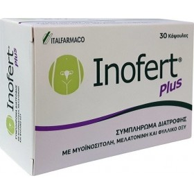 INOFERT Plus Συμπλήρωμα Διατροφής που Συμβάλλει στην Αύξηση της Γονιμότητας 30 Κάψουλες