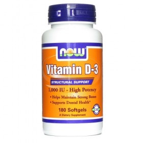 NOW FOODS Vitamin D-3 1000 IU 180 Soft Gels