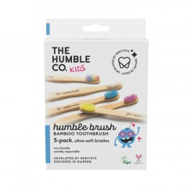THE HUMBLE CO. Kids 5-Pack Ultra Soft Toothbrush Παιδική Οδοντόβουρτσα απο Μπαμπού με Πολύ Μαλακή Τρίχα 5τμχ