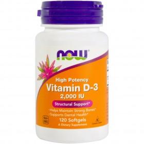 NOW FOODS Vitamin D-3 2000 IU 120 Soft Gels