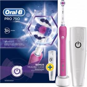 ORAL-B Professional 750 3D White Ηλεκτρική Οδοντόβουρτσα (Χρώμα Ρόζ) & ΔΩΡΟ Θήκη Ταξιδιού