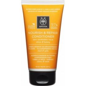 APIVITA Nourish & Repair Conditioner Kρέμα Θρέψης & Επανόρθωσης για Ξηρά/Ταλαιπωρημένα Μαλλιά με Ελιά & Μέλι 150ml