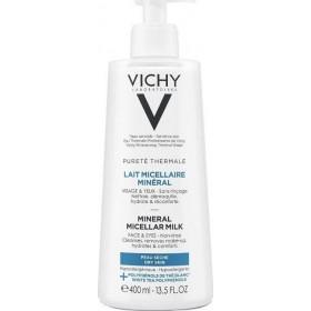 VICHY Purete Thermale Lait Micellaire Mineral Γαλάκτωμα Καθαρισμού με Μεταλλικά Στοιχεία για Πρόσωπο & Μάτια για Ξηρή Επιδερμίδα 400ml